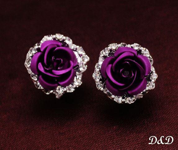 """Сережки """"Троянда"""" фіолетові"""