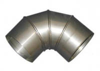 Колено для дымохода 90°, нерж., 140 мм (сталь 0,5 мм) AISI304