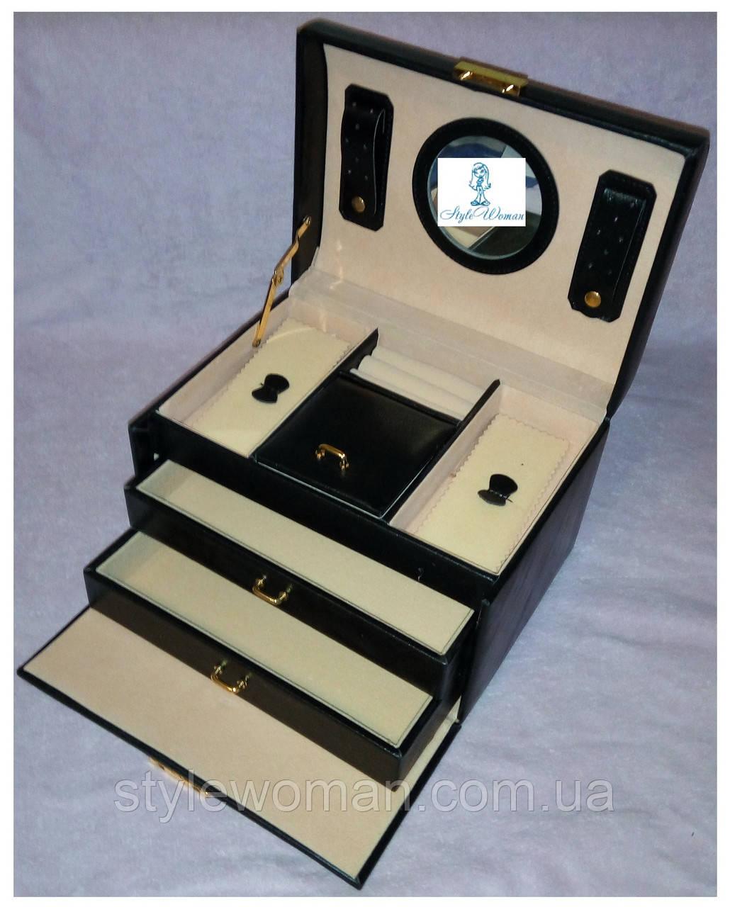 Шкатулки для ювелирных украшений и бижутерии гладкая черная
