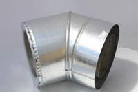 Колено для дымохода 45° утеплённое, нерж\оц., 130/190 мм (сталь 0,8 мм) AISI304