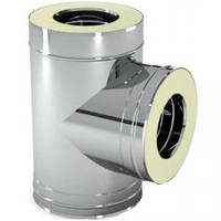 Тройник для дымохода 90° утеплённый, нерж\оц., 100/160 мм (сталь 0,5 мм) AISI304