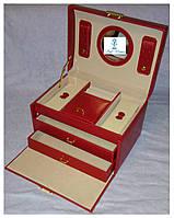 Шкатулки для ювелирных украшений и бижутерии гладкая красная