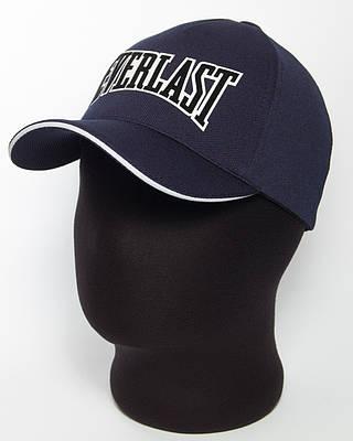"""Бейсболка спортивная """" Everlast"""" темно-синего цвета с белым кантом (лакоста пятиклинка)"""