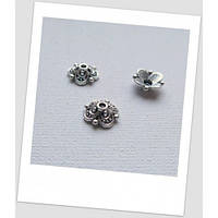 Шапочка для бусины металлическая, цвет: стальной, 10 мм