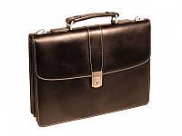 Портфель Wallaby 408 черный кож/зам с белой строчк