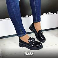 Женские туфли низкие, эко лак, черные / черные туфли женские низкие, лаковые,  модные