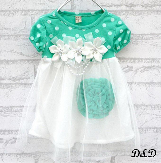 Детское платье бело-зеленое