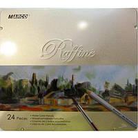 """Карандаши цветные Marco 7120-24TN 24цвета D2,9мм шестигранные акварельные с кисточкой """"Raffine"""", металлическая коробка"""