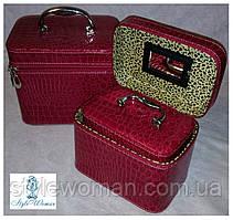 Шкатулка косметичка чемодан с ремешком и ручкой 3 в 1 зеркало, малина