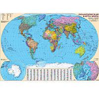 Карта настенная Ипт 77х110 Мир. Политическая карта (укр.,ламин,картон,планка) М1:32000000