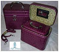 Шкатулка косметичка чемодан с ремешком и ручкой 3 в 1 зеркало, сирень темная
