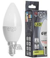 LED лампа светодиодная ERGO Basic C37 E14 6W 4100K 220V