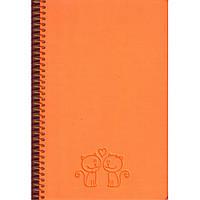 """Блокноты на спирали в твердых обложках Бриск СБВ-93 оранжевый А5 120л на резинке Skill (ярко-оранжевый) обл-искуст.кожа """"Raso Fluo"""" бок/спир белый"""