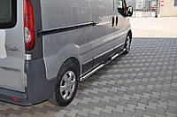 Renault Trafic 2001-2015 гг. Боковые трубы BB002 (2 шт., нерж.) 60 мм, длинная база