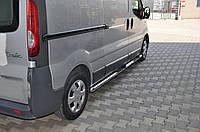 Renault Trafic 2001-2015 гг. Боковые трубы BB002 (2 шт., нерж.) 70 мм, длинная база
