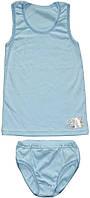 Комплект нижнего белья для мальчика, майка и трусы, цвет голубой, рост 134-140 см, Фламинго