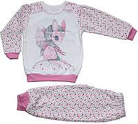 Пижама теплая для девочки, белая с розовым, в капельку с девочкой в маске понни, рост 104 см, Ля-ля