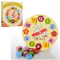 Деревянная игрушка Часы-сортер, в кор-ке MMT-MD0719