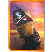 """Папка для труда J_Otten 2010-27 оранжевый А4 пласт.на молнии """"Пиратский корабль"""""""