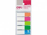 Блоки бумажные самоклеющиеся Deli 9062 микс 12х45мм 25штх5цв неон пласт