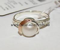 Кольцо белый жемчуг с золотом Грация