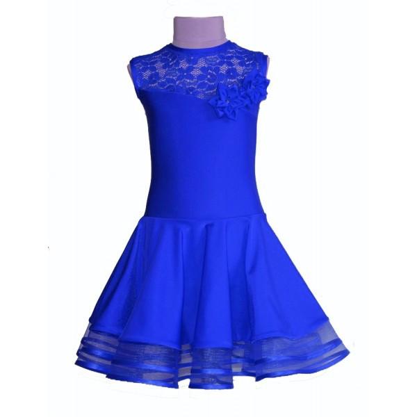 57a8653a613fa7b Рейтинговое платье (бейсик) 34 размер синий электрик! в наличии! цветки в  комплекте