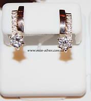 Серебряные серьги с фианитами Твинс, фото 1