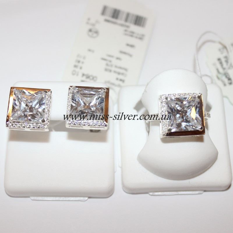 Комплект серебряный с белыми камнями Квадро
