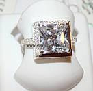 Комплект серебряный с белыми камнями Квадро, фото 3