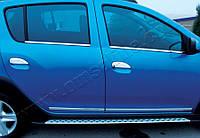 Renault Logan MCV 2013+ гг. Накладки на ручки (4 шт, нерж.) Carmos - Турецкая сталь