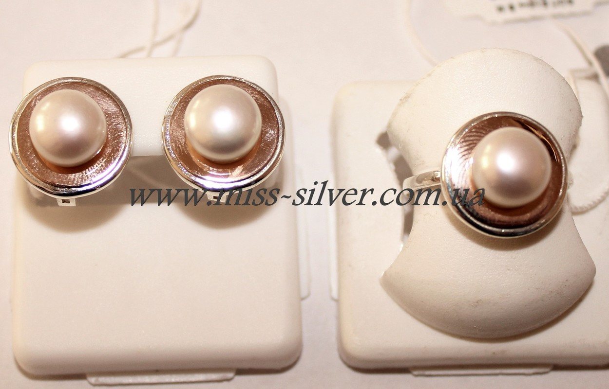 Комплект из жемчуга с золотом Венера - Miss Silver – магазин ювелирных  украшений из серебра в d89cd24648e