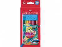 Карандаши цветные Faber_Castell 114413 12цветов шестигранные акварельные с кисточкой, картонная коробка с подвесом