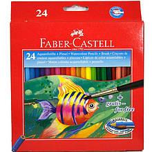 Карандаши цветные Faber_Castell 114425 24цвета шестигранные акварельные, картонная коробка с подвесом