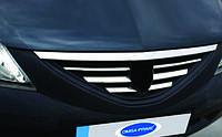 Renault Logan II 2008-2013 гг. Накладки на решетку радиатора (нерж.) OmsaLine - Итальянская нержавейка