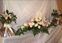 Свадебное оформление зала живыми цветами, Киев