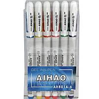 Ручки гелевые в блистере Aihao 801A 6 цветов 0.5 мм белый пластик,набор.блист/пак