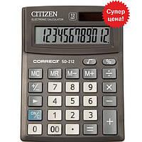 Калькулятор Citizen SD-212 черный Correct 12 разряд, 103x138x24 пластик корп, пласт кн