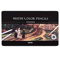 Карандаши цветные Deli 6522 36цветов шестигранные акварельные с кистью металл/коробка