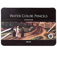 Карандаши цветные Deli 6523 48цветов шестигранные акварельные с кистью металл/коробка