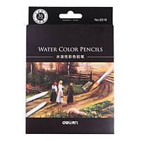 Карандаши цветные Deli 6519 36цветов шестигранные акварельные с кистью карт/кор
