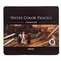 Карандаши цветные Deli 6521 24цвета шестигранные акварельные с кистью металл/коробка