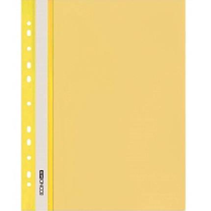 Швидкозшивач Economix 31508-05 жовтий А4 РР прозорий верх, з перфорацією, фото 2