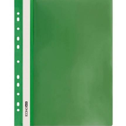 Швидкозшивач Economix 31508-04 зелений А4 РР прозорий верх, з перфорацією, фото 2