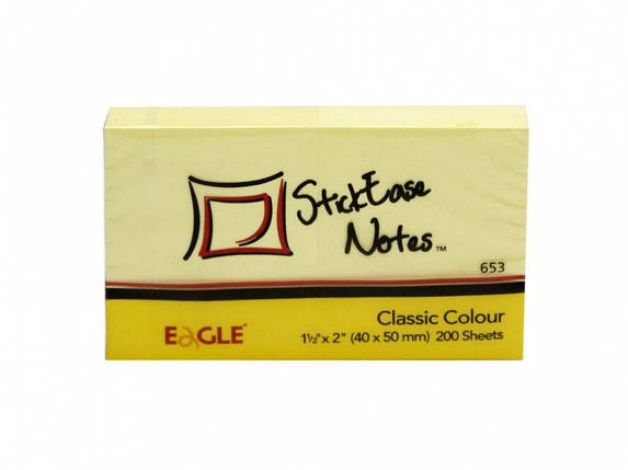 Блок бумажный самоклеющиеся Eagle 653Y желтый 40х50мм 100шт 2цв, фото 2