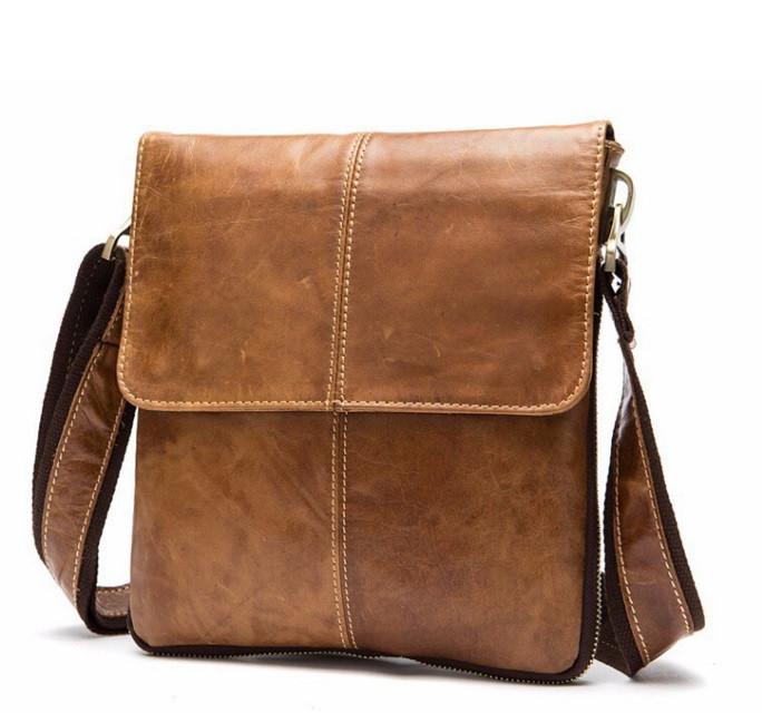 Мужская кожаная сумка-мессенджер рыжая