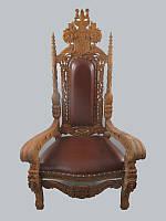 Кресло KING кожа / резное натуральное дерево