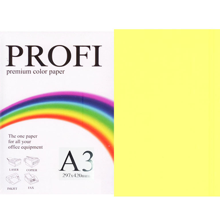 "Бумага флуоресцентных тонов PROFI 363 (43189) желтый А3 155гр 250л ""Cyber Yellow"" неон"