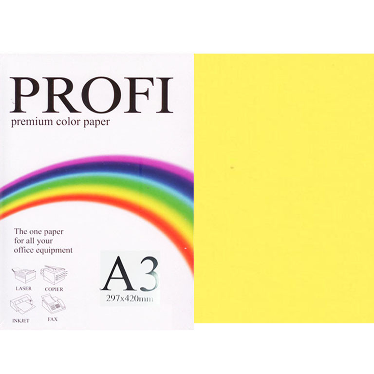 """Папір насичених тонів PROFI 210 (36361) лимонний А3 160гр 250л """"Deep Lemon"""" насичений"""