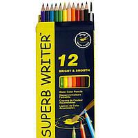 """Карандаши цветные Marco 4120-12CB 12цветов D2,9мм шестигранные акварельные с кисточкой """"SuperB Writer"""",  картонная коробка"""