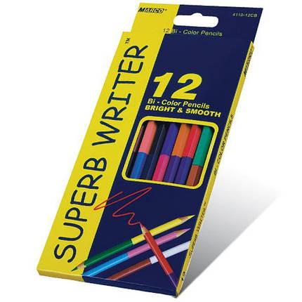 """Карандаши цветные Marco 4110-12CB 24цвета D2,9мм 12 шт. 2сторонние шестигранные """"SuperB Writer"""", картонная коробка с подвесом, фото 2"""